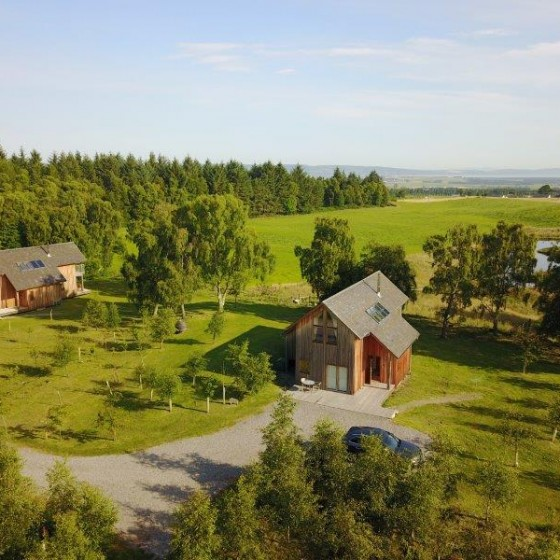An aerial shot of our two luxury lodges
