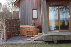 Eco friendly wood fired hot tubs near Inverness